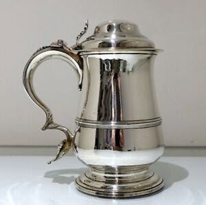 18th Century Antique George Iii Sterling Silver Tankard Cover London 1765