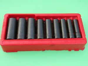Snap On 309simya 9 Pc 1 2 Drive 6 Point Sae Deep Impact Socket Set 1 2 To 1