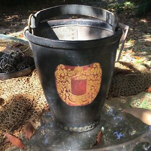 Estate Leather Fire Bucket With Brass Rivets And Crest