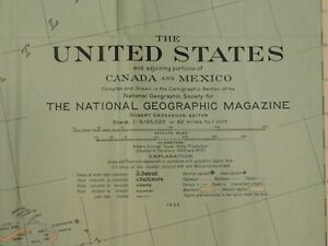 Vintage National Geographic United States Canada Mexico 1933 Map 26 1 2 X 40