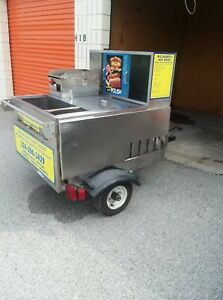 Mobile Hot Dog Cart Trailer Concession Food Vending Stand Kiosk Vendor Hotdog