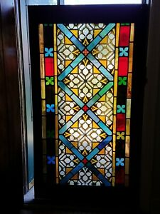 Large Antique Original Stained Glass Window From A Nj Mansion 1912