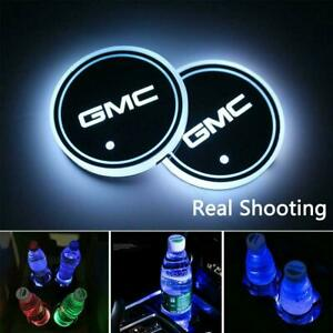 2pcs For Gmc Led Car Cup Holder Pad Mat Auto Interior Atmosphere Lights Colorful