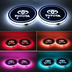 2x Colorful Led Car Cup Holder Pad Auto Interior Atmosphere Lights For Toyota