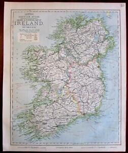 Ireland Eire Lighthouses Located 1883 Lett S Detailed Sduk Old Map
