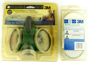 3m Dual Cartridge Respirator Medium large 7091s Ov n95 With Bonus Easi air Pack