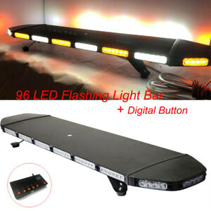 96 Led Light Bar Beacon Warn Tow Truck Plow Strobe Amber White Digital Button