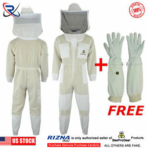 3 Layer Bee Suit Ultra Ventilated Bee Beekeeping Suit Round Veil 4xl uv15