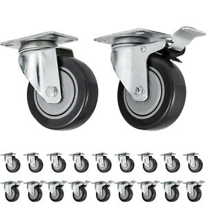 20 Plate Casters 4 Wheels All Swivel And 10 Brake Caster Nation Cheap Local