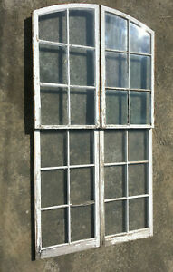 Antique Set Of 4 Semi Arch Factory Windows Wall Shabby Vintage Chic 234 19l