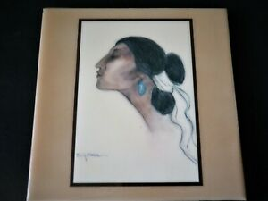 R C Gorman Signed Ceramic Art Tile Beautiful Navajo Woman