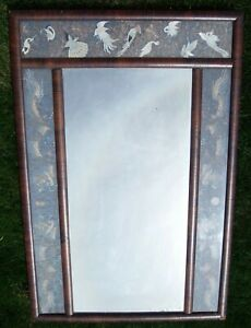 Antique Silk Birds And Double Dragon Embroidery Chinese Embroidered Panel Mirror