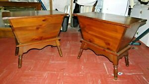 Vintage Colonial Solid Wood Custom Hand Made Dough Box Matching End Tables