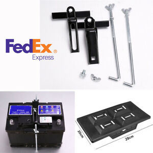 Us Shipping Car Marine Abs Battery Tray Adjustable Hold Down Clamp Kit Black