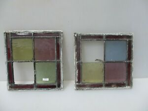 Antique Stained Glass Window Panel Old Antique Leaded Victorian Vintage X2 10