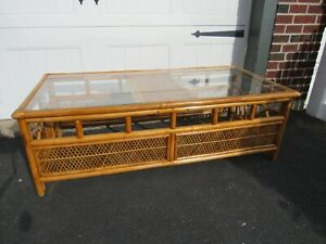 Vintage Rattan And Glass Coffee Table Tiki Boho 50 Long