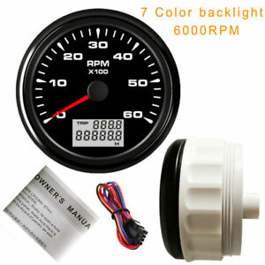 85mm Tachometer 6000rpm For Diesel Engine Tachometer 7 Color Backlight Stainless