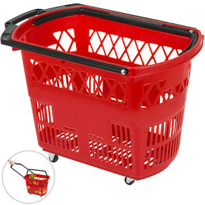 1pcs Red Shopping Basket 21x13 2x14 3in Metal Handles Shopping Convenience Store