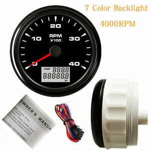 85mm Tachometer 4000rpm For Diesel Engine Tacho 7 Color Led Stainless 12v 24v