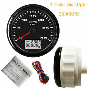 85mm Tachometer 3000rpm For Diesel Engine Tacho 7 Color Led Stainless 12v 24v