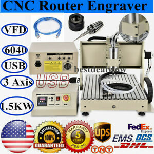 Usb 3 Axis 6040 Cnc Router Engraver 1500w Vfd Engraving Drilling Milling Machine