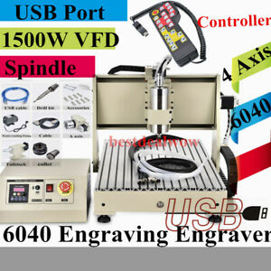 6040 Usb 4 Axis Cnc Router Engraver 1 5kw Vfd Milling Carving Machine controller