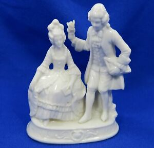 Rare Capodimonte Porcelain Figurine Victorian Couple Courting Early Crown N