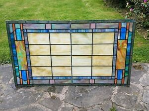 Large Antique Stained Glass Church Window From The New York City Area 32 By 56