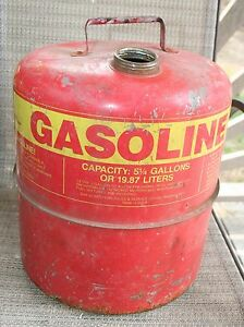 Vtg Western Metal Gas Can Usa 5 1 4 Gallon