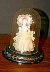 Vtg Porcelain Victorian Figurine Domed Glass Display Case Japan