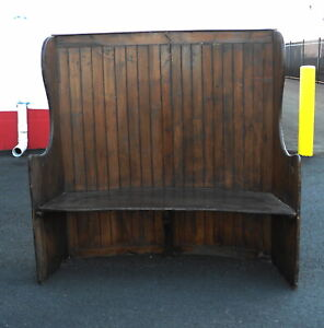 Late 18th Century Primitive Antique High Back Fireside Settee Bench
