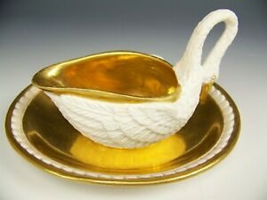 Sevres France Swan Coffee Tea Cup Saucer Biscuit Bisque Porcelain