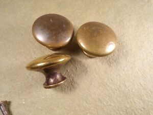 3 Vintage Antique Brass Dresser Drawer Cabinet Furniture Pulls Knob Hardware