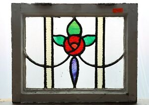 Fantastic Antique Stained Glass Window Five Color Macintosh Rose 4443