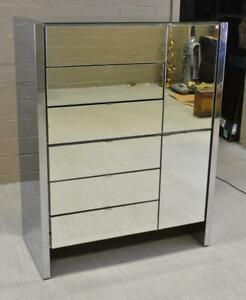 Ello Mirrored Tall Chest Six Drawers Adjustable Shelves