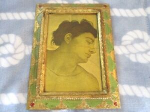 Antique Italian Florentine Renascence Tole Green Gold Wall Picture Vintage Decor