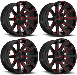 22x12 Black Red Wheels Fuel Contra D643 8x6 5 8x165 1 44 Set Of 4
