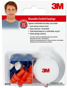 3m Reusable Corded Ear Plugs Hearing Protection 3 Pack Work Washable Case Of 10