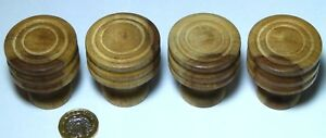 Set X 4 Reeded Wood Wooden Chest Of Drawers Knob Handles Modern