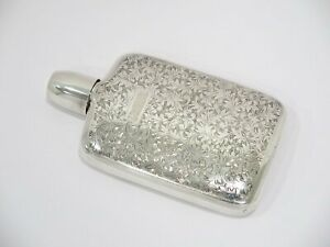 6 In Sterling Silver Antique American Floral Flask