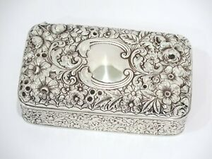 5 3 8 In Sterling Silver Gorham Antique Floral Repousse Box