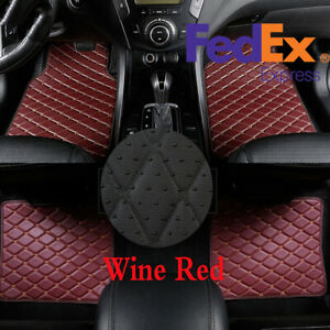 4pcs Suv Car Floor Mats Cover Carpet Waterproof Wine Red Beige Line Pu Leather