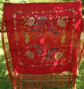 Vintage Red Embroidered Silk Piano Scarf