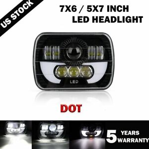Dot 7x6 5x7 Led Headlight Drl Projector Beam For Tacoma Tundra 4runner Truck