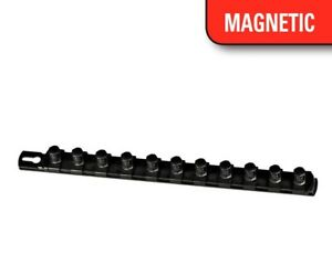 Ernst 8423m 13 Long 1 4 Dr Magnetic Socket Organizer Rail W 15 Clips Black