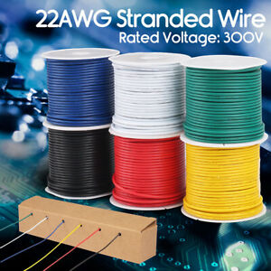 6 Rolls Flexible Pvc Electrical Wire 22 Awg Gauge Copper Hook Up 300v 30ft
