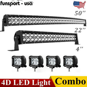 Curved Led Light Bar 50inch 22 Combo 4 Pods Offroad For Jeep Truck Marine