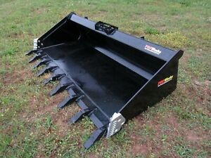 Pro Works 80 Hd Low Profile Skid Steer Track Loader Tooth Bucket Ship 199