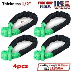 Set 4x Green 1 2 Synthetic Rope Soft Rope Shackle 38000 Lb Wll 15000lbs 7 5tons