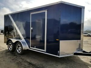 Enclosed Cargo Trailer 7x14 7 X 14 Ta Blue Black Two Tone Motorcycle 12 16